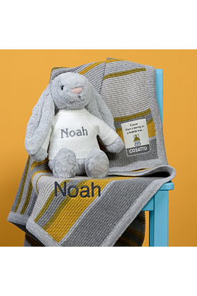 Personalised Cosatto Grey and Yellow Stripe Blanket and Jellycat Bunny Gift Set