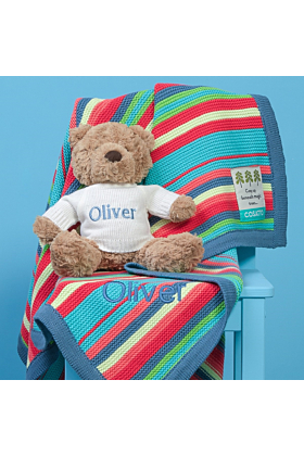 Personalised Cosatto Multi Stripe Blanket and Jellycat Soft Toy Gift Set