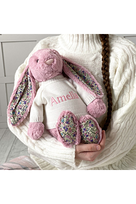 Personalised Jellycat Tulip Pink Large Blossom Bunny Soft Toy