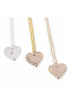 9kt Yellow Gold Personalised Love Heart Necklace