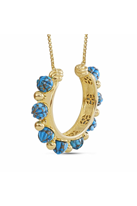 Yellow Gold Plated Silver & Turquoise Circle of Fire Necklace
