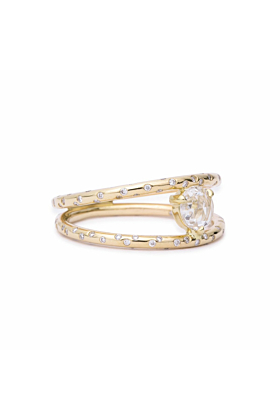 Dew Drop Rosecut Diamond Double Ring