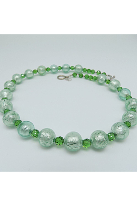Murano Glass Bead Green Paradise Necklace