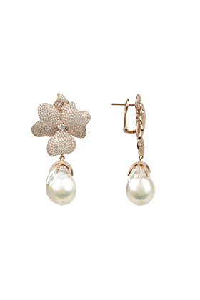 Rose Gold Plated Silver White Flower Baroque Pearl Drop Earrings