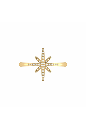 14kt Yellow Gold Plated North Star Ring