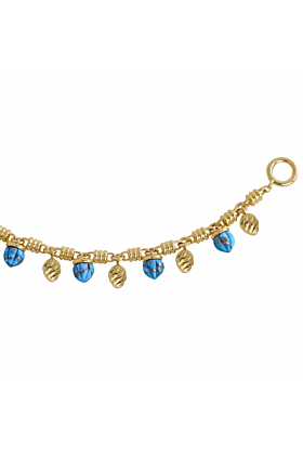 Yellow Gold Plated Silver & Turquoise Sunshine Twist Charms Bracelet