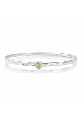 Sterling Silver White Opal Bangle