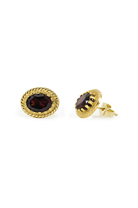 Yellow Gold Plated Silver Luccichio Garnet Stud Earrings