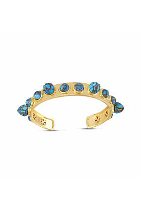 Yellow Gold Plated Silver & Turquoise Sea Breeze Cuff