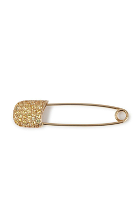 18kt Yellow Gold Safety Pin With Yellow Sapphires