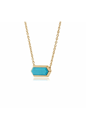 Gemondo Yellow Gold Plated Silver & Turquoise Hexagon Prism Necklace
