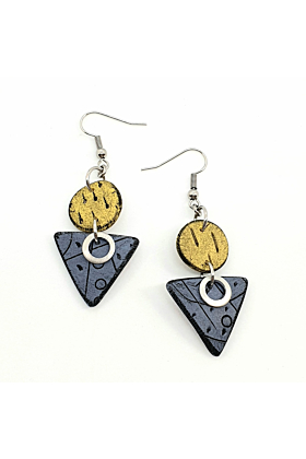 Geo Dots Isle Polymer Earrings In Yellow & Blue