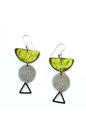 Moia Fiesta Green & Silver Polymer Earrings