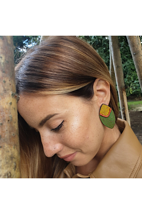 Sterling Silver Olive Green & Mustard Statement Earrings