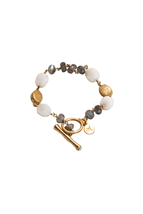 18kt Gold Plated Silver Lustrous Pearls & Labradorite Bracelet