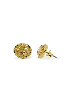 Yellow Gold Plated Silver Luccichio Citrine Stud Earrings