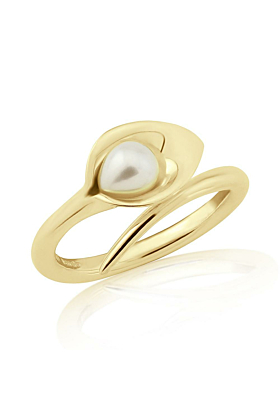 18kt Gold Small Lily & Pearl Ring
