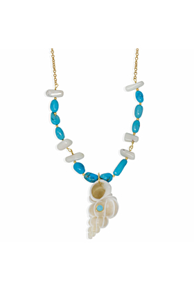 Turquoise & Coral Necklace With Wentletrap Shell
