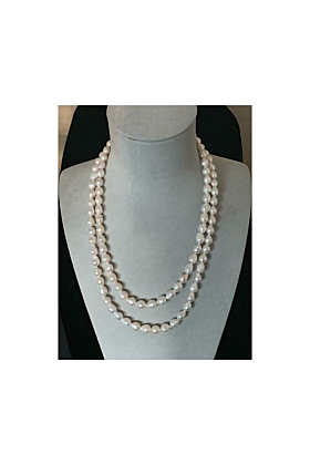 Antibes White Baroque Freshwater Pearl Necklace - Sterling Silver Magnetic Clasp