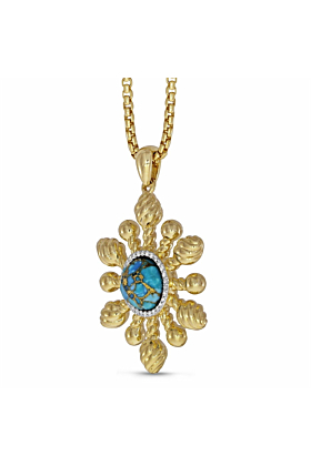 14kt Yellow Gold Plated Silver & Diamond Sunny Side Up Turquoise Pendant