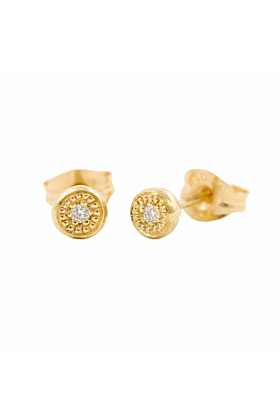 18kt Yellow Gold One Circle One Diamond Studs