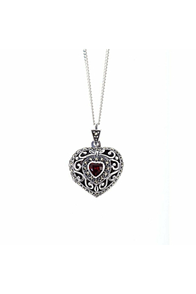 Vintage Garnet Heart Locket