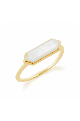 Gemondo Yellow Gold Plated Silver & Mother of Pearl Hexagon Prism Ring