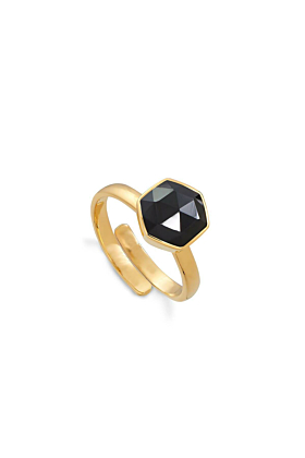18kt Yellow Gold Plated Silver Firestarter Black Spinel Adjustable Ring