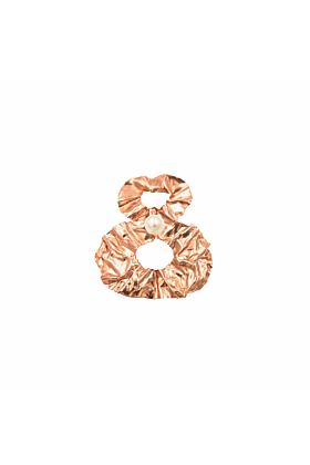 White Gold/Rose Gold Figure-Of-8 Fold Earrings With Pearls