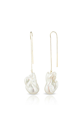 14kt Gold Irregular Baroque Freshwater Pearl Earrings