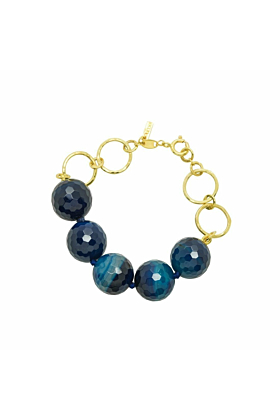 Gold and Blue Agate Disco Icon Bracelet