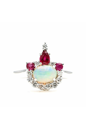 14kt Gold Natural Opal, Ruby & Diamond Crown Engagement Ring