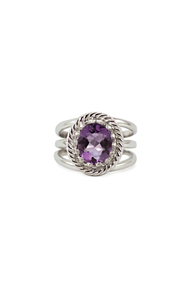 Rhodium Plated Silver Luccichio Amethyst Spiral Ring