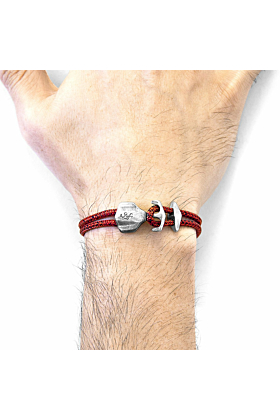 Red Noir Delta Anchor Silver and Rope Bracelet