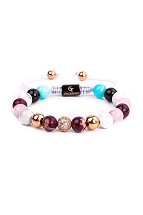 Mixed Agate, Aquamarine, Howlite & Amethyst Women's Beaded Bracelet