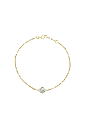 Yellow Gold Solitaire Diamond Raindrop Bracelet