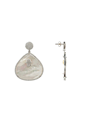 Sterling Silver Hamsa White Mother Of Pearl Teardrop Earrings