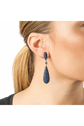 Yellow Gold Plated Coco Long Drop Earrings With Blue CZ