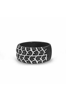 Black Rhodium Plated Silver & Black Diamond Born Drifter Tire Tread Band Ring