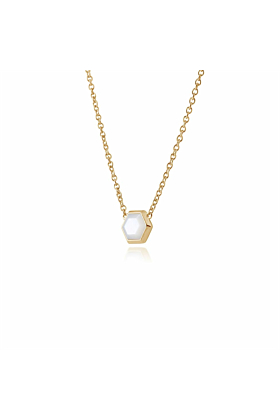 Gemondo Yellow Gold Plated Silver Mother of Pearl Hexagon Necklace