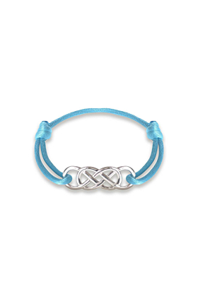 Silver Infinity Ibiza Bracelet With Turquoise Ribbon | INFINITY by Victoria