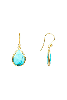 Petite Drop Earring Gold Turquoise