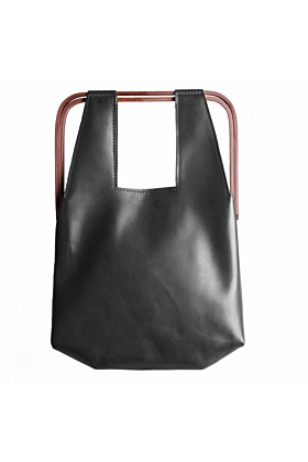 Black Leather TRAPÉZION Slim Bag