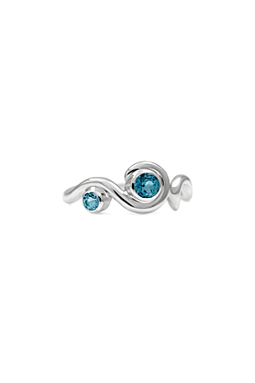 Entwine Two Stone Ring In Silver