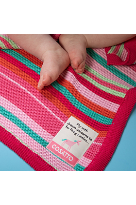 Personalised Cosatto Pink Stripe Blanket and Jellycat Soft Toy Gift Set