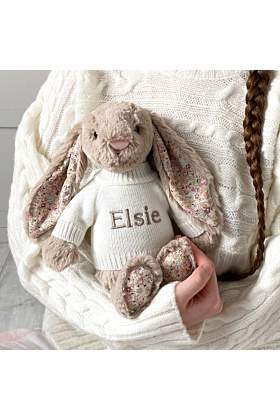 Personalised Jellycat Beige Blossom Bunny Soft Toy