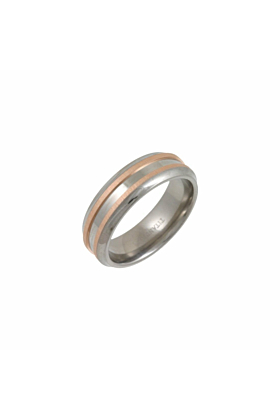 Titanium & 9kt Rose Gold Inlay 7mm Wedding Ring