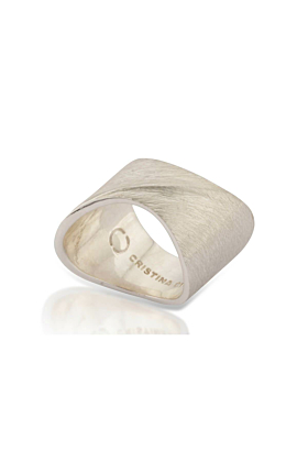 Sterling Silver Solid Sharch Ring With Rough Matt Finish