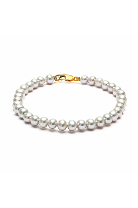 14kt Yellow Gold & Grey Freshwater Pearl Classic Bracelet