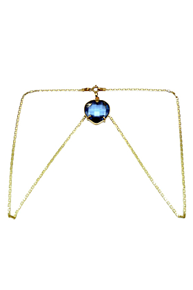 18kt Yellow Gold Heart Sapphire Necklace